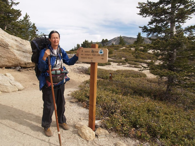 PCT - Trail intersection sign at the South Ridge Trail and the trail to Tahquitz Peak Fire Lookout Tower - 3E08