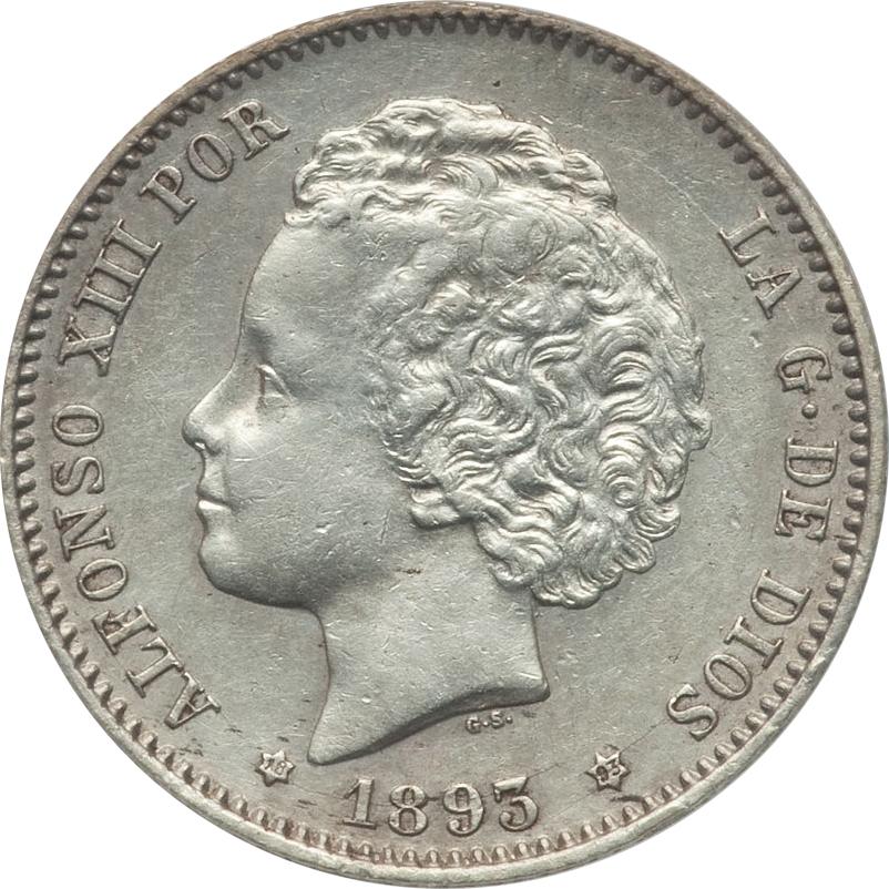 1 Peseta Alfonso XIII 1893 PG L (RIZOS) 9125099950_a738eac313_o