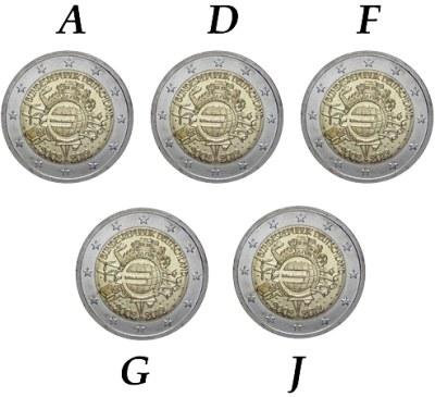 5x 2 Euro Nemecko 2012 A-J, 10. výročie zavedenia Eura
