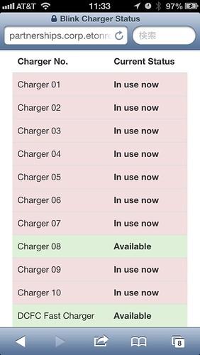 エバーノート社内の充電設備の使用状況がわかるApp画面