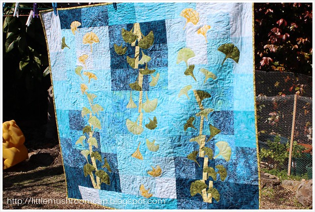 gingko blues wallllhanging quilt machine applique