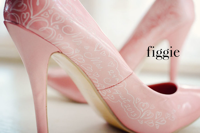 Charlotte V | Hand-Painted Blush Pink and White Lace ...