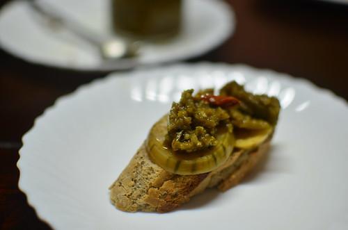 Openface Garden egg pickle & chutney sandwich