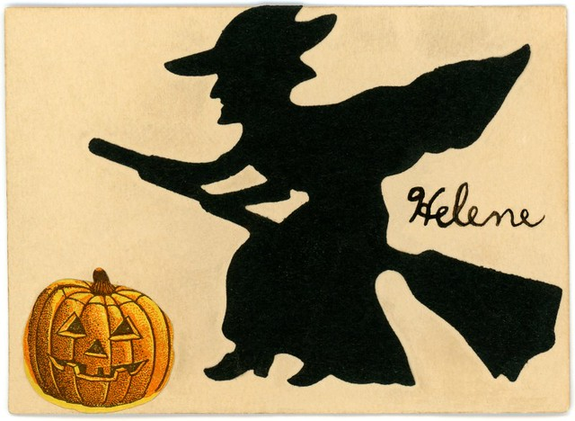 Witch and Jack-O'-Lantern Card for Helene