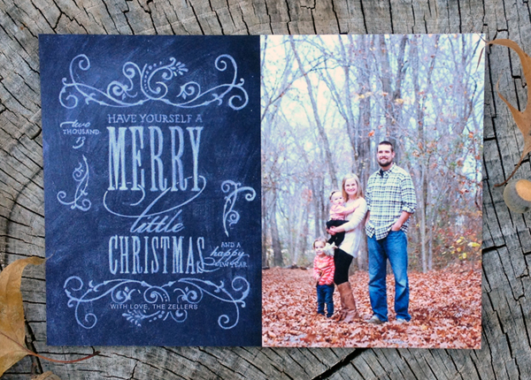have yourself a merry little christmas - chalk style photo card