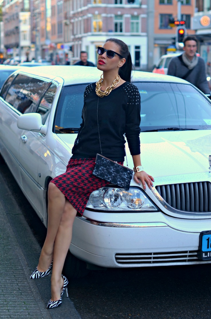 DSC_8992 houndstooth skirt, Studded sweater