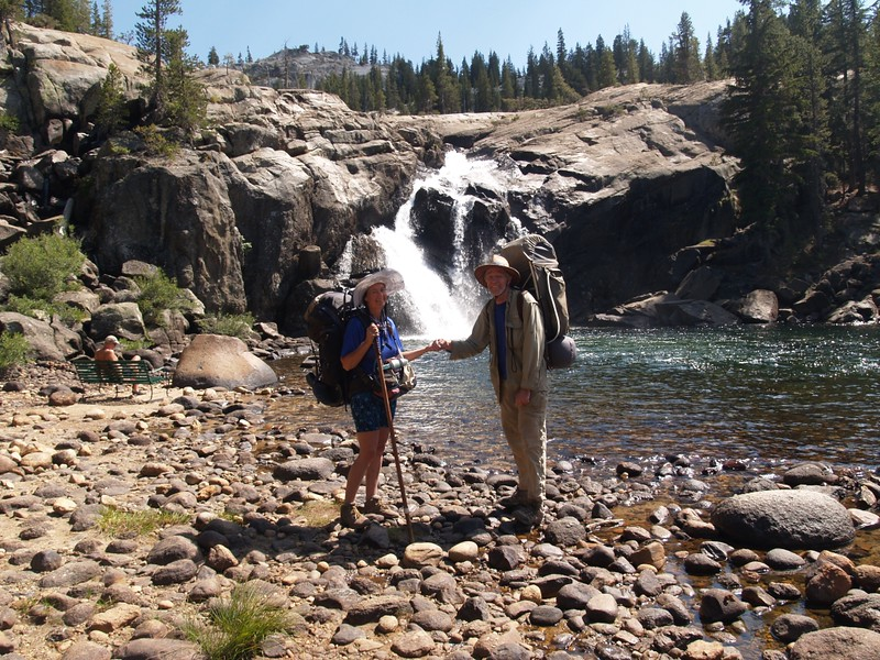 Vicki and I posing at White Cascade Falls at the Glen Aulin High Sierra Camp