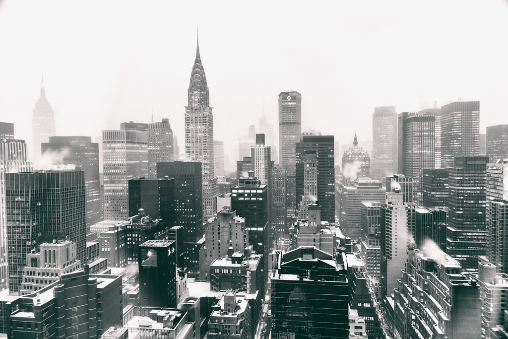 New York City Skyline - Winter - Snow Covered Skyscrapers--