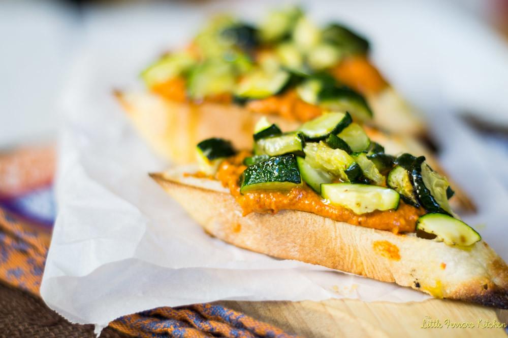 Roasted Vegetable and Romesco Crostini #AppetizerWeek via LittleFerraroKitchen.com