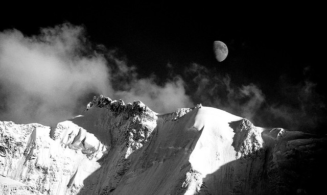Moonrise over the Alps in Murren