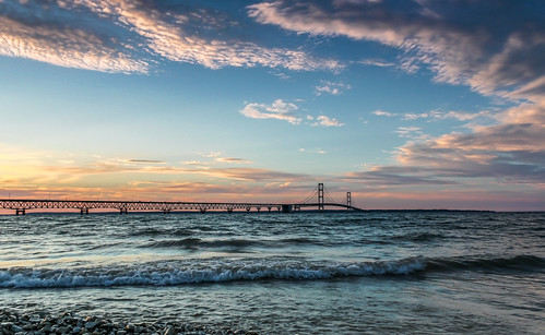 bridge blue sunset summer beach water clouds michigan upnorth mackinacbridge warmer 2011 mackinawcity kevinpovenz