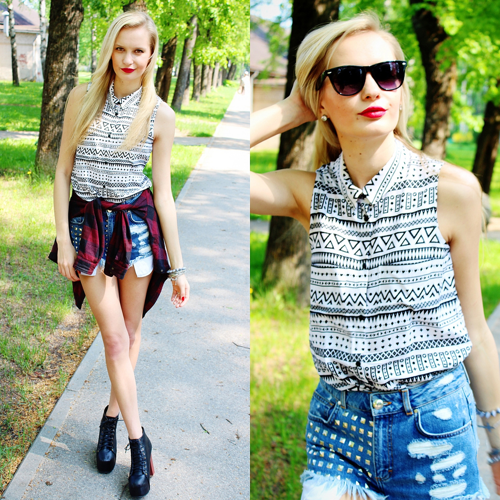 aztec print blouse from H&M, studded denim shorts from Bik Bok, jeffrey cambell lita heel look a like from Ebay