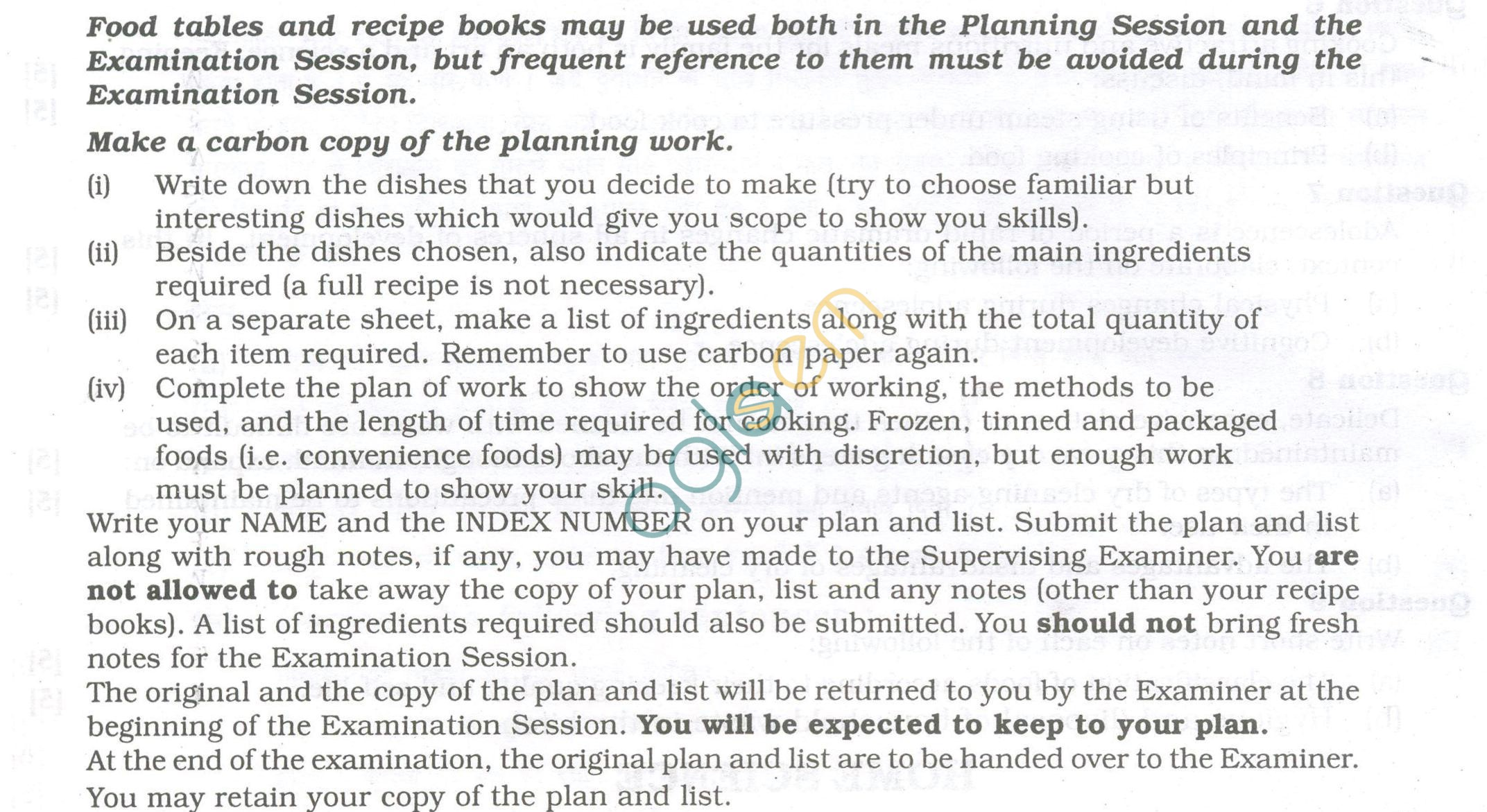 ISC Question Papers 2013 for Class 12 - Home Science Planning Session