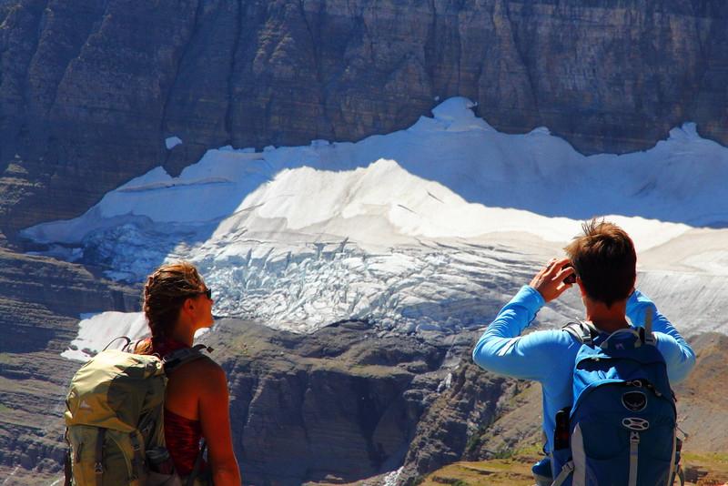 IMG_4049 Hikers Watching Sexton Glacier on Siyeh Pass Trail