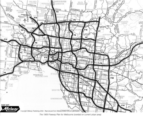 Planned freeways from the 1969 Melbourne Transportation Plan