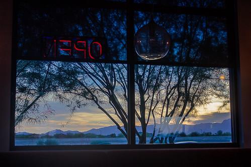 sunset arizona mountain tree window sign sushi restaurant evening twilight neon open silhouettes az dim hdr outthewindow whitetanks fadinglight photomatix whitetankmountains tonemapped