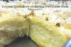 Coconut Pecan Buns with Baileys Irish Cream Glaze by Baking is my Zen