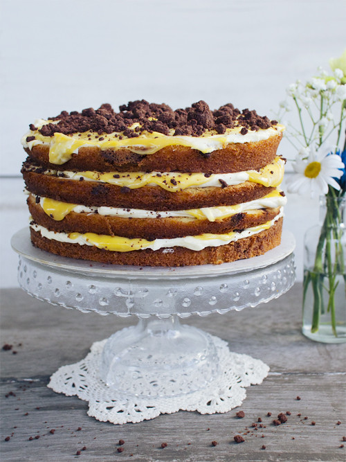 chocolate chip passionfruit naked cake