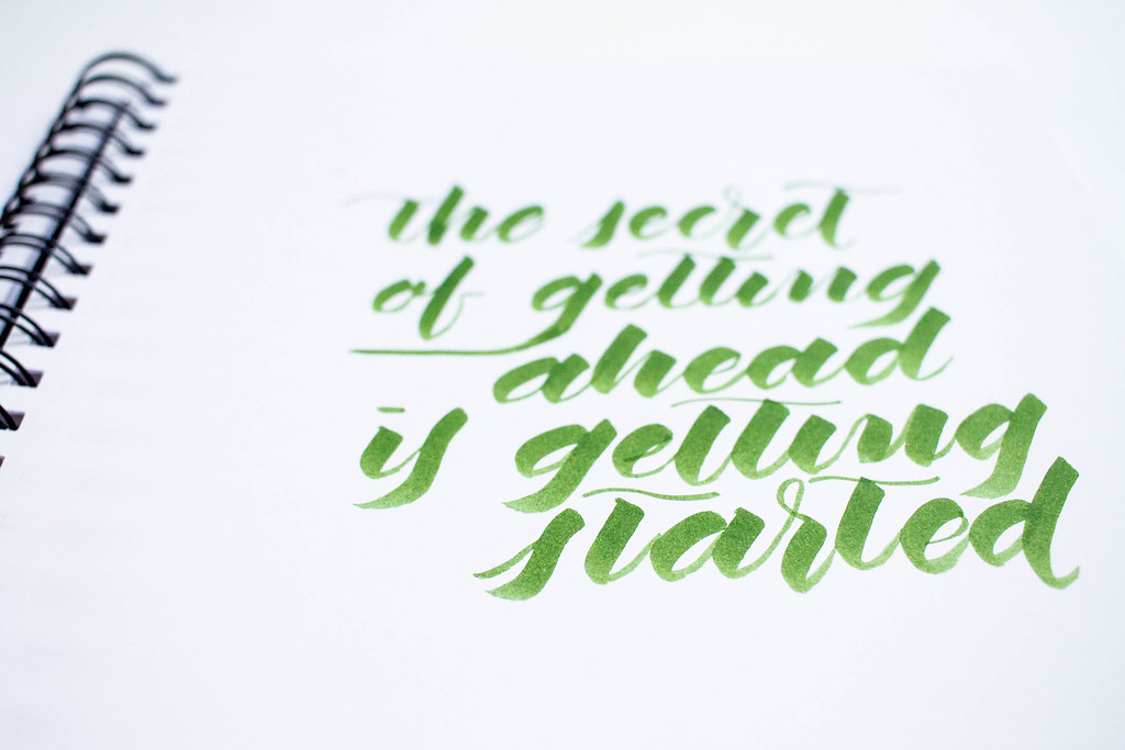 the secret of getting ahead is getting started - calligraphy quote