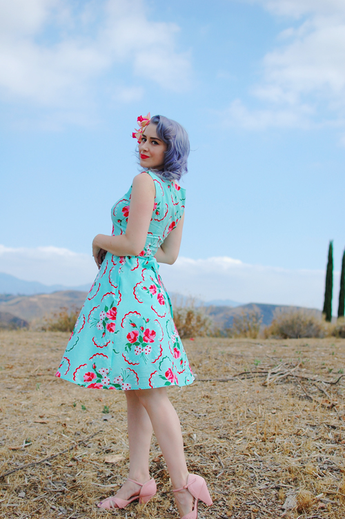 Heart of Haute Monique dress in Doilie Aqua print
