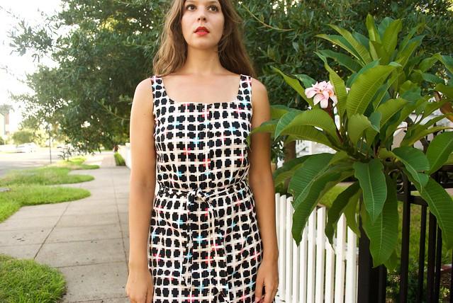 Mood Fabrics Geometric Squares Stretch Cotton Woven