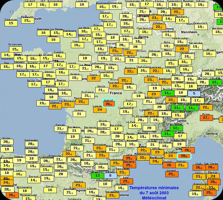 températures minimales élevées au matin du 7 août 2003 météopassion