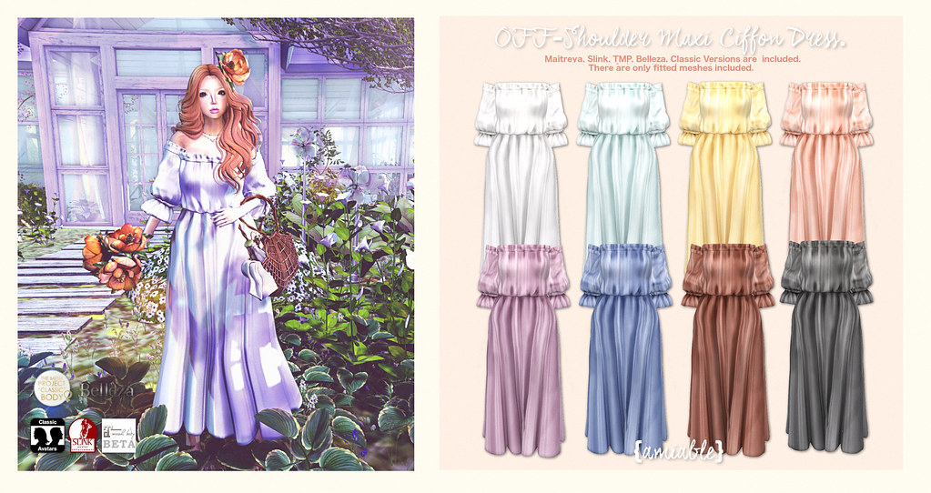 {amiable}Off-shoulder Maxi Chiffon Dress@N°21 March round(50%OFF SALE). - SecondLifeHub.com