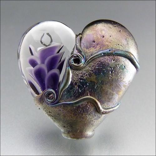 PURPLE HEART - Lampwork Heart Pendant Bead