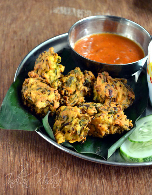 Saga (Hara) Pyaaz Pakora | Spring Onion Fritters