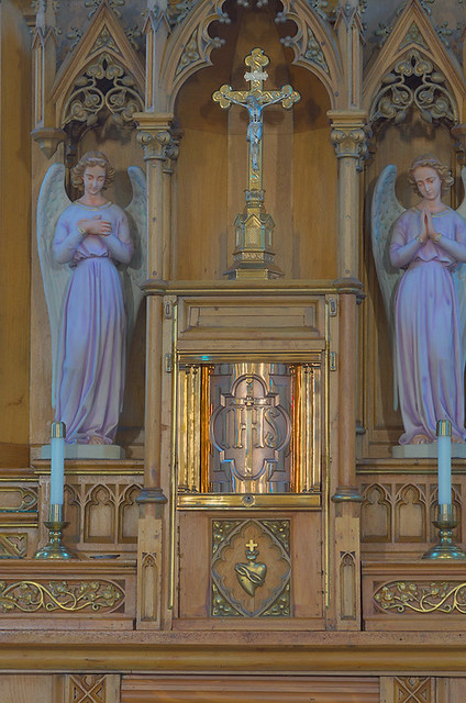 Sacred Heart Roman Catholic Church (Saint Katharine Drexel Parish), in Springfield, Illinois, USA - tabernacle and crucifix