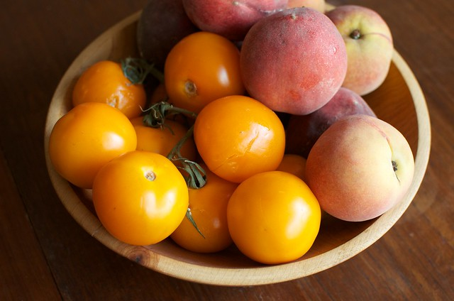 yellow tomatoes and peaches