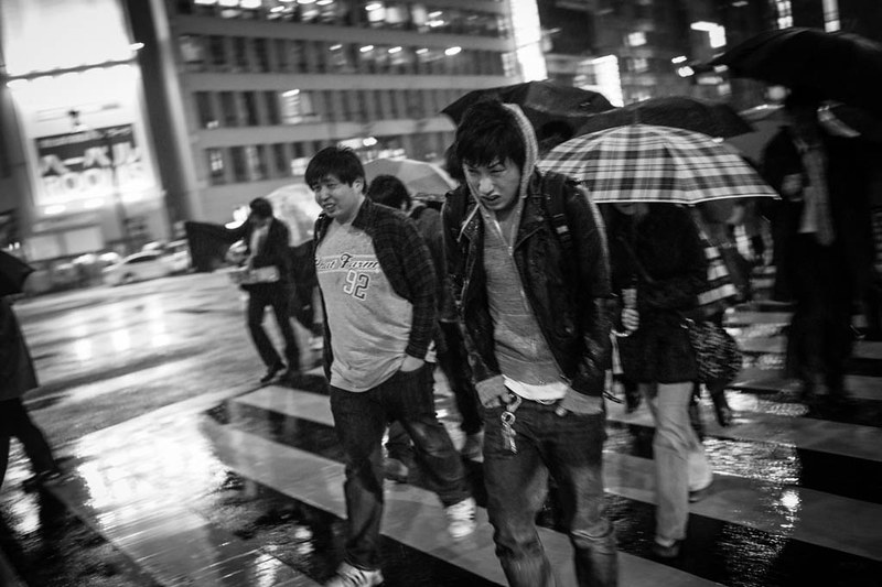 Getting cold and wet in Shinjuku.