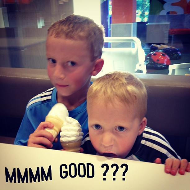 I'm snapping a picture of the boys when Owen's ice cream cone drips. Naturally he licks the table before I can even stop him!!!!!  Yuck!!!!  #whatdoesntkillyoumakesyoustronger
