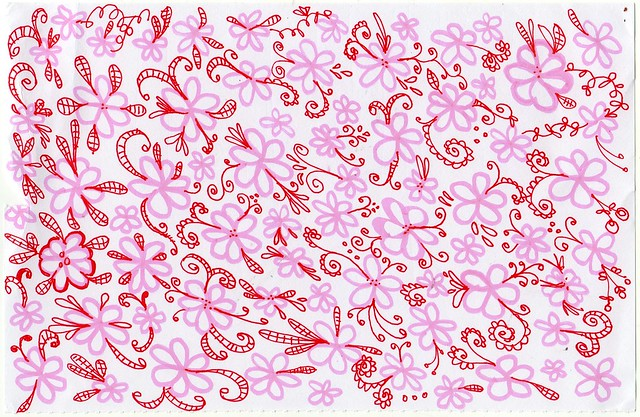 Pink Field of Flowers Doodle by iHanna (Copyright Hanna Andersson, 2013)