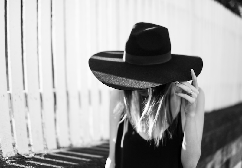 modern legacy fashion blog ysl hat wide brim topshop silk cami slip dress street style inspo details monochrome trend vera xane black white (1 of 1)