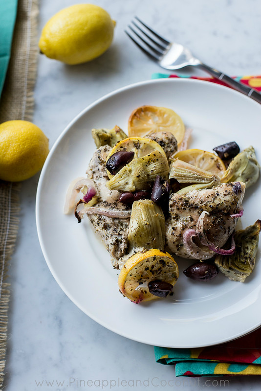 Roasted Lemon Chicken Thighs with Artichokes and Kalamata olives www ...