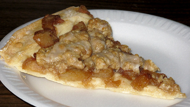 Apple pie pizza. There's so much static today, the empty plate hovered ...