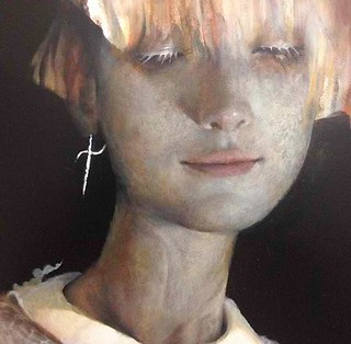 Close up view of Esao Andrews new oil painting in progress for Thinkspace's booth with SCOPE Miami Beach this December