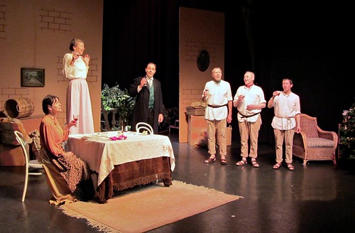 My Three Angels: Anne Trotter (Madame Dulay), Beatrice Hawdon (Marie Louise Dulay), Martin Burnell (Felix Dulay), and the three convicts - Andrew Hawdon (Joseph - 3011), Gavin Bolus (Jules -6817) and Ken Latham (Alfred - 4707). Photo © Margaret Milne