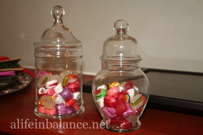 Christmas decoration: Apothecary jars filled with hard candies