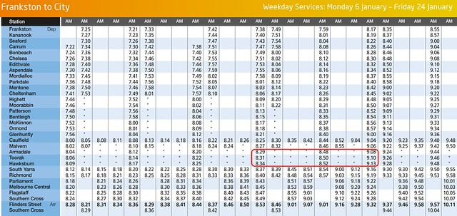 Metro Trains: Frankston line 2013-14 Summer timetable revised to fill a gap