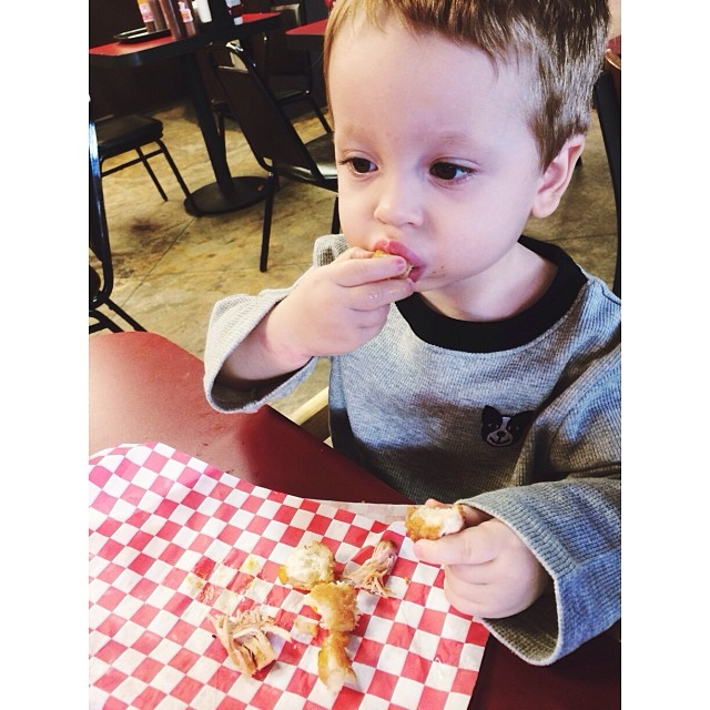 Baby Will's first time eating #BBQ. He loved it. Scarfed it down like a pro! Yummy! #pictapgo_app #bigdsbbq #greatfood #goodeats #baby #familyvacation #seriouseating