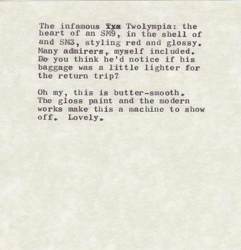 Type Samples from California Typewriter Type-In Dev 27, 2013