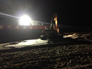 NEW YORK - The 125-foot deck barge known as WEEKS BARGE 236 was refloated Thursday evening at approximately 6:15 p.m. after having been grounded and stuck on shore near Atlantic Beach, N.Y. Photo by U.S. Coast Guard Lt. Christian Barger.