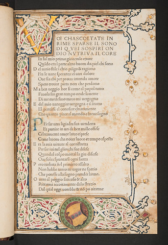 Illuminated decoration with unidentified coat of arms in Petrarca, Francesco: Canzoniere e Trionfi
