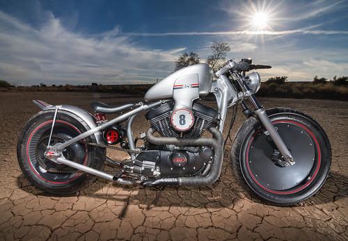Silver Harley Davidson Cafe Racer