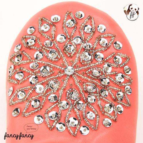 82.亮銀刺繡Blingbling皮拖鞋(摩洛哥製)-粉紅色2