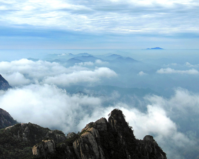 Islands in the sea of clouds, Huangshan, China