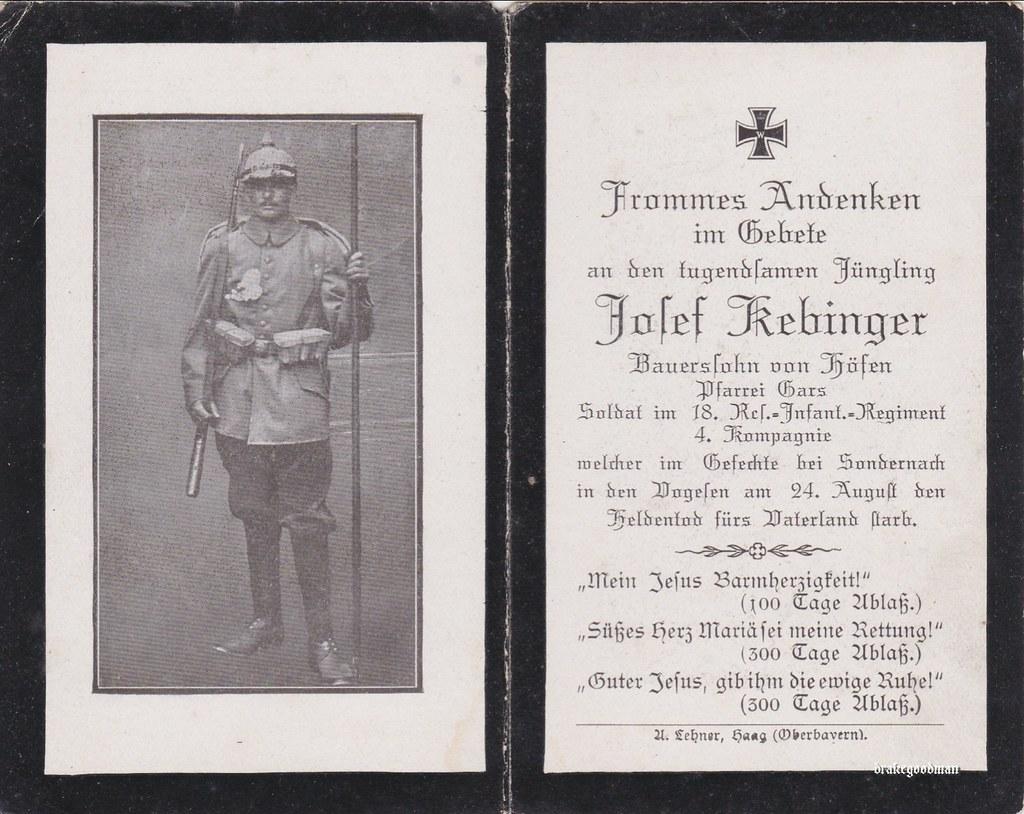 Sterbebild for farmers son josef kebinger from höfen born 18 11 1890 serving