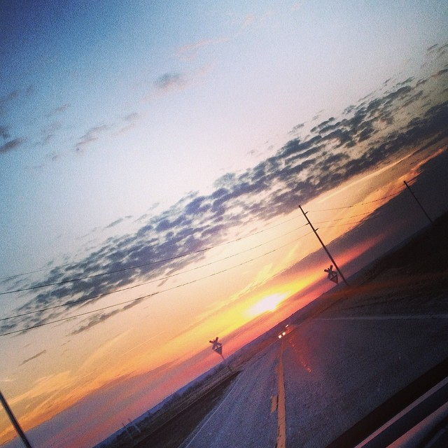 Chasing the #Sun #sunset #prairie  #clouds #sky #road #spring
